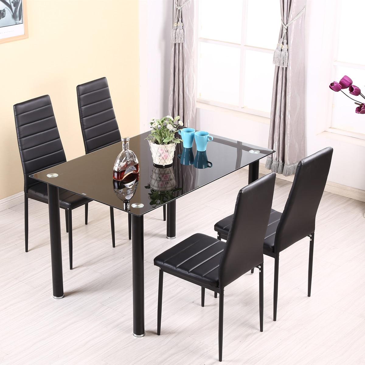Panana mesa de jantar conjunto com 4/6 pces cadeiras couro falso alta perna de metal acolchoado assento cozinha