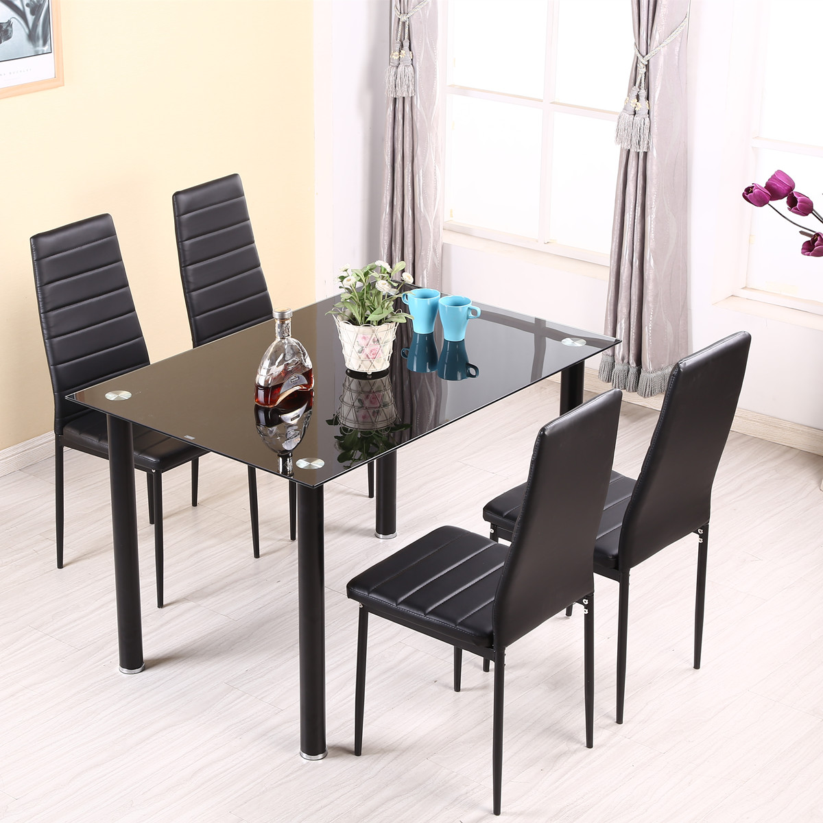Panana table à manger ensemble avec 4/6 pcs chaises Faux cuir haute jambe en métal rembourré siège cuisine