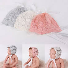 Lace Newborn Baby Hat T Baby Boy Girl Floral Print Lace Strapped Newborn Photography Props Transparent Solid Soft Thin Baby Cap(China)
