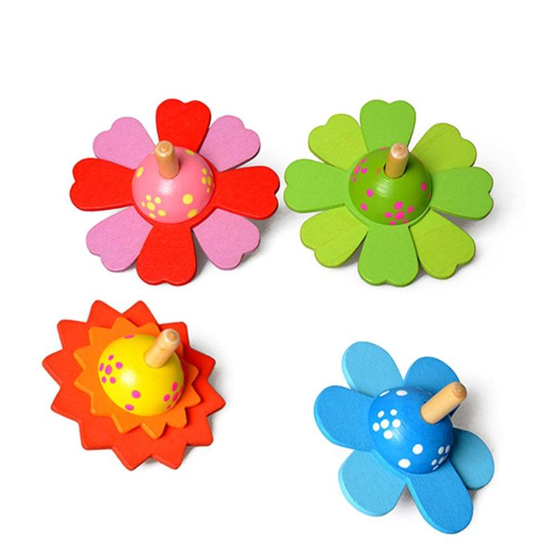 Baby Flower Rotate Wood Toys for Kids Spinning Top Develop Learning Educational Toys Rotatory Spinner Wooden Toys for Kids Gifts
