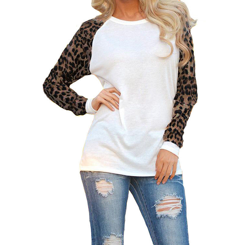 Hot Sell Leopard Patchwork Women Shirts Tops Fashion Long Sleeve Loose Pullovers Blouse Ladies Autumn Casual Clothes Outwear