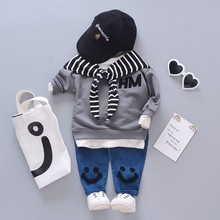 Spring Autumn Baby Cotton Clothing Sets Fashion Children Girls Boys Fake Scarf T-shirt Jeans 2 Pcs/Sets Kid Casual Tracksuits