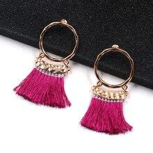 1Pair Small Circle Valentines Gift Circular Sector Drop Earring Fashion Bohemian Multicolor Long Tassel tassel womens earring