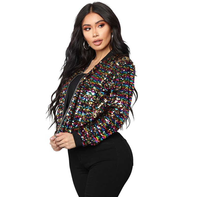 2019 Women Colorful Sequin Bomber   Jacket   Casual Bling Bling Glitter Coat Cool Street Long Sleeve   Basic     Jackets
