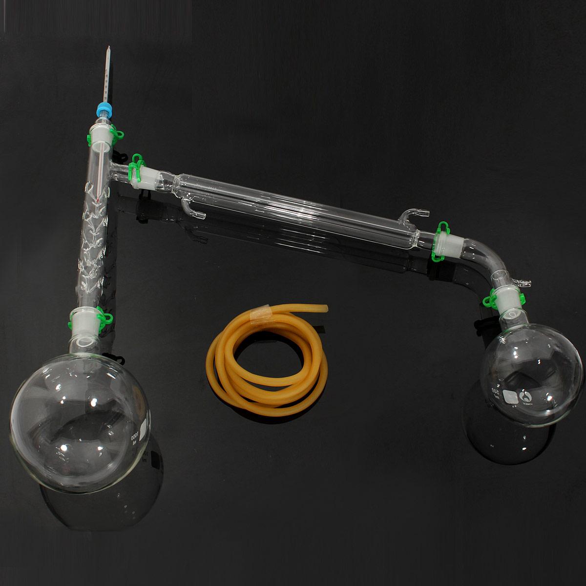 1000ml Chemistry Lab Distillation Apparatus Laboratory Chemistry Glassware Kit Set Glass Distilling Distillation Apparatus 24/29
