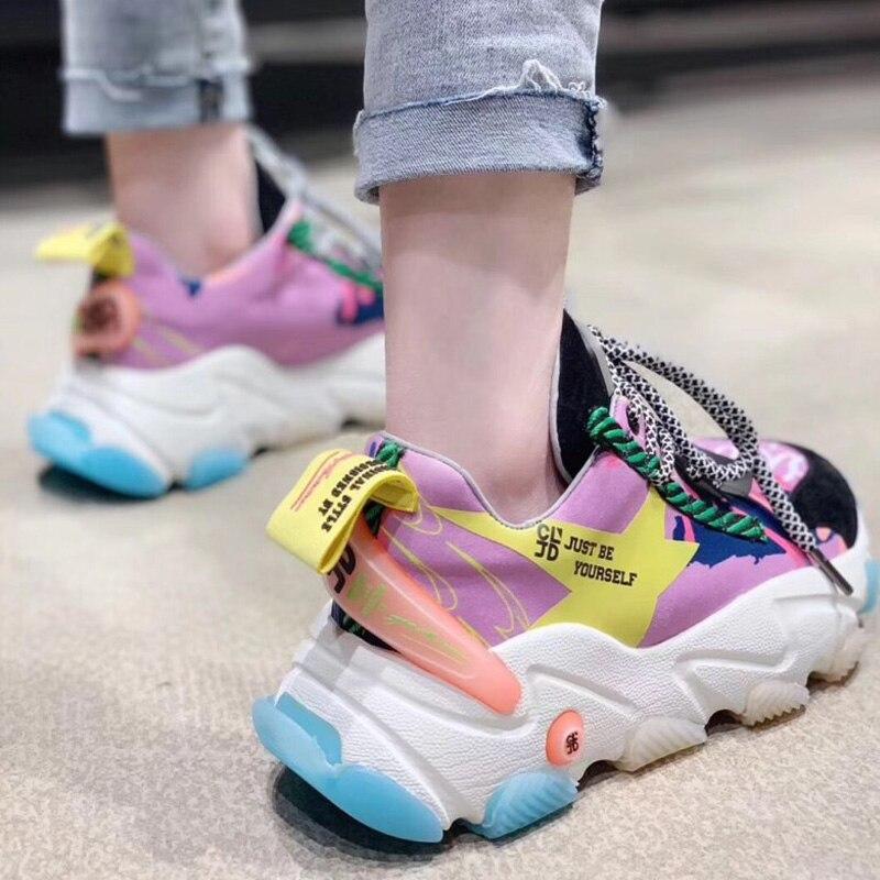 RY-RELAA femmes baskets 2018 plate-forme baskets chaussures de luxe femmes designers tennis à semelles compensées peau de vache femmes chaussures décontractées nouveau