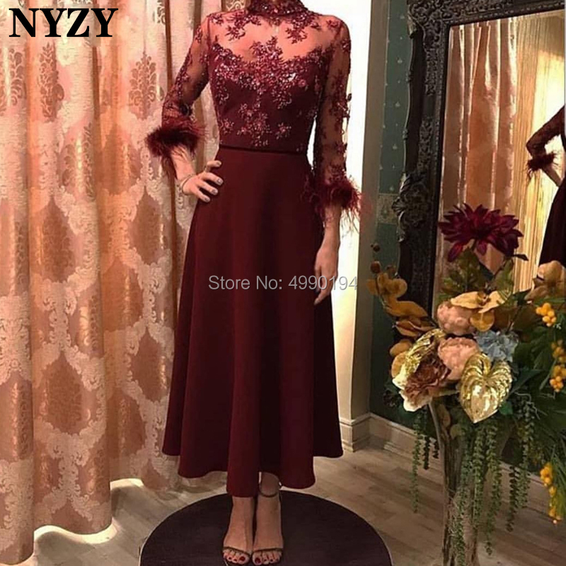 NYZY C95 Modest High Neck 3/4 Sleeve Robe Cocktail Dresses Dubai Burgundy Feather Arabic Evening Dress Vestido Coctel 2019