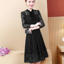 Fashion 2019 Women Spring Summer Lace Dresses Slim Stand Collar Sexy Hollow Out Solid Color A-line Party Dress Plus Size 5XL sexy stand collar hollow out lace up zipper velvet dress for women