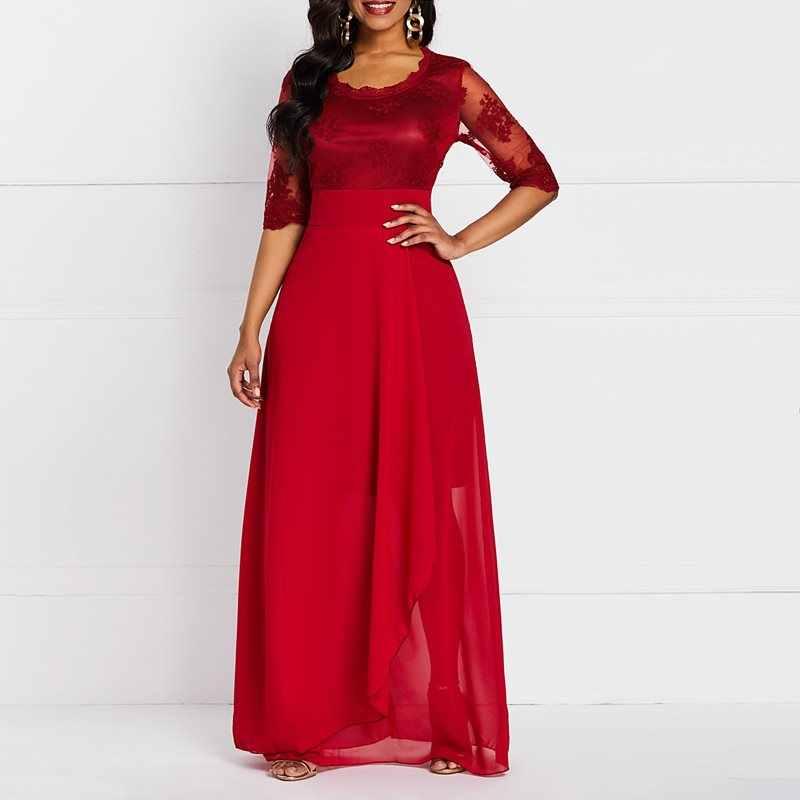Новое Кружевное Длинное Платье женское Брендовое модное сексуальное вечернее летняя с высокой талией Сетчатое большое пышное платье женские красные вечерние элегантные Макси платья