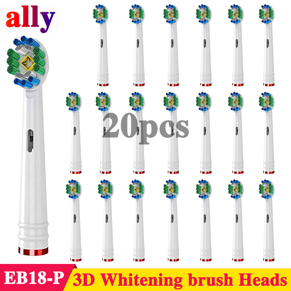 20X 3D Whitening Electric toothbrush heads Replacement For Braun Oral B Vitality P2000 P4500 D100 Electric Toothbrush Heads image