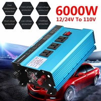Voltage Transformer P eak 6000W Car Solar Power Inverter DC 12/24V to AC 110V Sine Wave USB Convertep Protection Modified