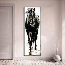 لوحة فنية جدارية AAVV صورة حيوان حصان أبيض وأسود لغرفة المعيشة ديكور منزلي بدون إطار