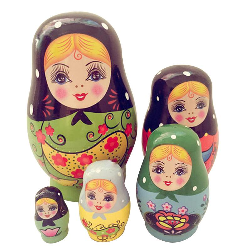 5pcs Creative Small Belly Nesting Dolls Matryoshka Doll Handmade Painted Set Toy Wishing Russian Funny Games Doll Crafts