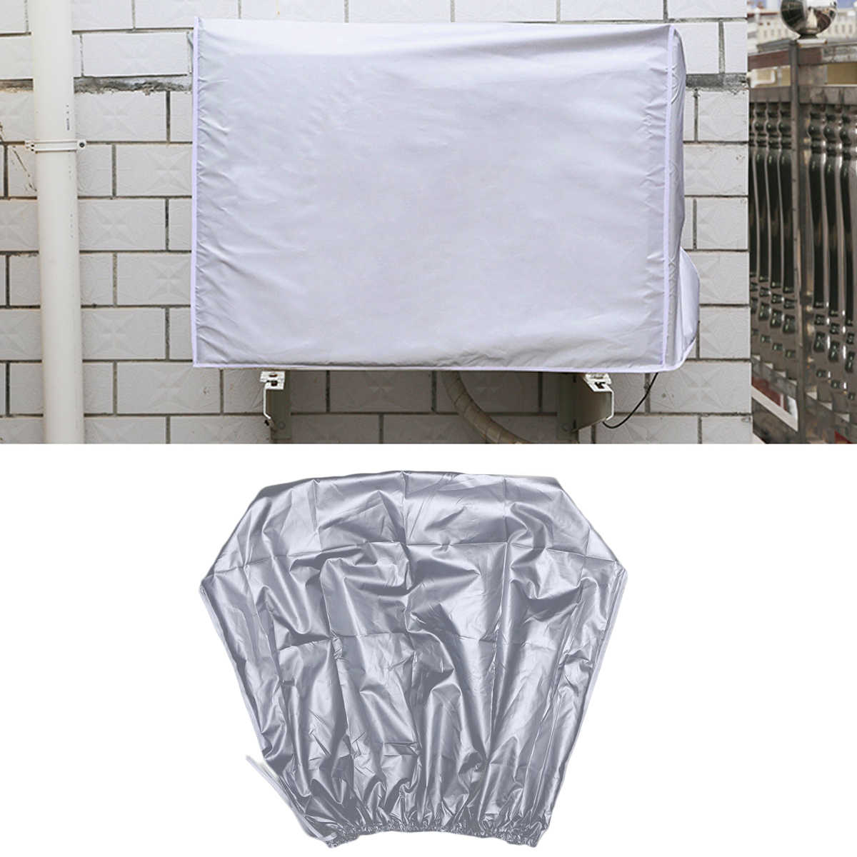 Air Conditioner Cover Waterproof Dustproof Sunscreen Outdoor Air Conditioning Protector Silver Fabric Shield