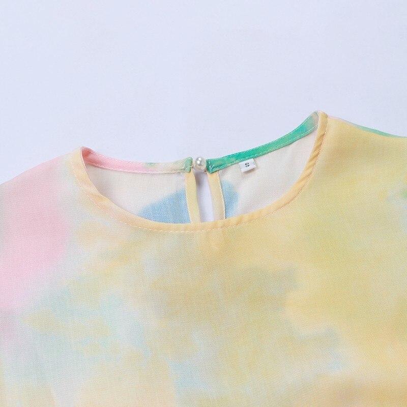 Two twinstyle printemps irrégulière Hit couleur Patchwork femmes robe O cou bouffée manches Bandage robes femme 2019 décontracté mode nouveau - 6