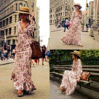 New Fashion Women Casual V Neck Lantern None Sleeve Loose Sexy Dress Long White red Full Length Prints