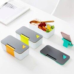 Pojemnik na lunch do mikrofali z uchwyt na telefon pojemnik na jedzenie Bento pudełka szczelne przechowywanie żywności Lunchbox na piknik obozowy w Pudełka śniadaniowe od Dom i ogród na