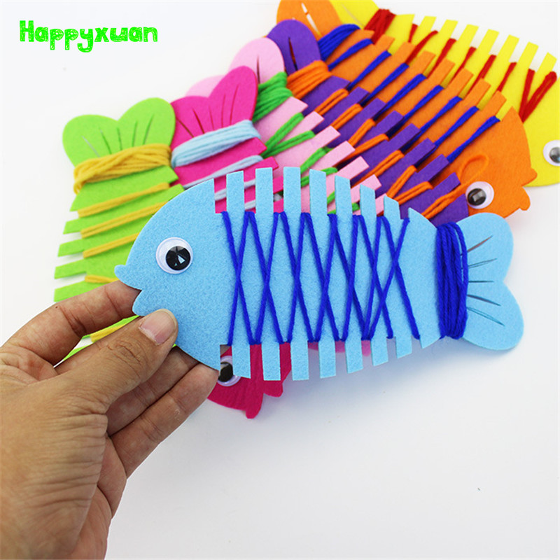 Happyxuan 5pcs Fine Motor Skills Toys Fish Wrapping Thread Handmade Felt Kindergarten Teaching Aids Montessori Educational Toys