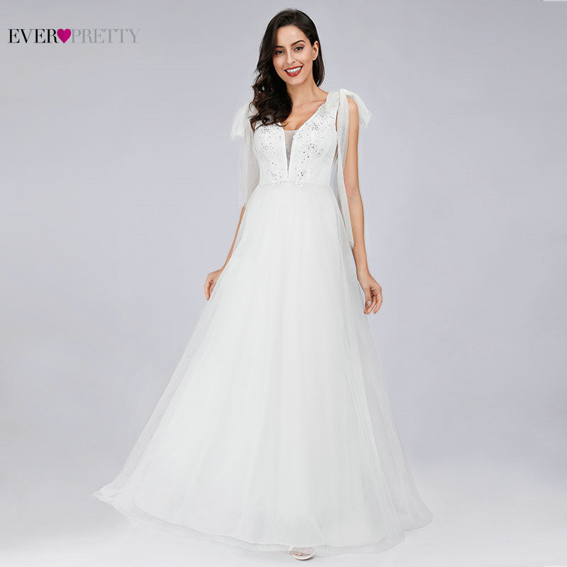 Cheap Wedding Dress Simple Elegant A Line Deep V Neck Sleeveless Appliques Beaded Boho Bridal Beach Gowns Vestido De Noiva Tule
