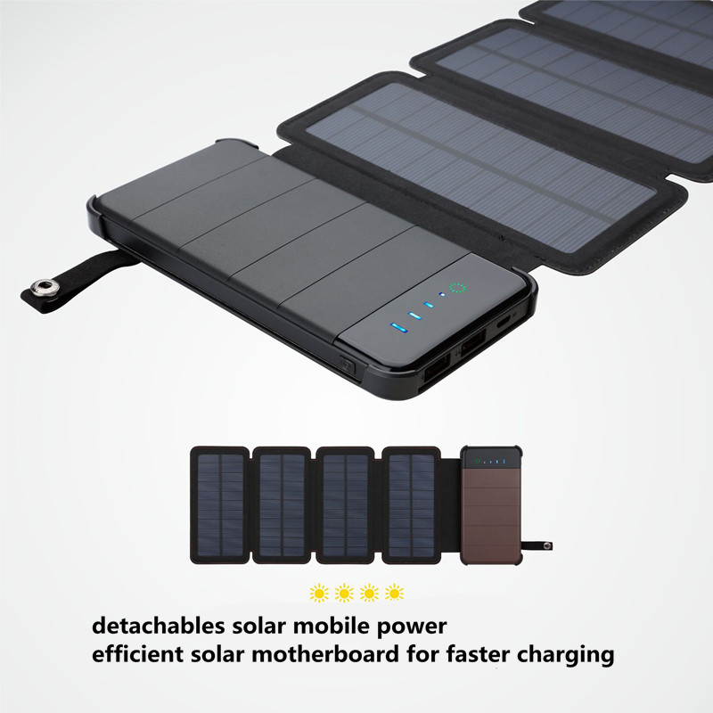 foldable solar power bank case diy Solar Charger Waterproof Detachable solar battery storage box with 5v2a pcb