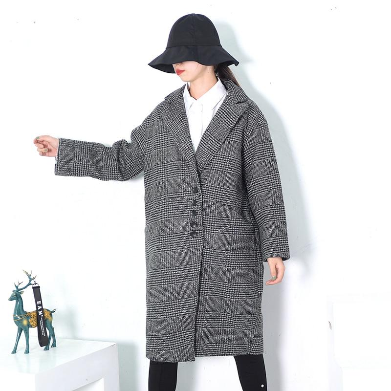 Wollen Noir Printemps Manches 2019 De Mode Unique Longues Revers Pardessus Poitrine Manteau Femmes Nouveau Grand Hiver eam Chaud Plaid Gray Lâche Exq41w600