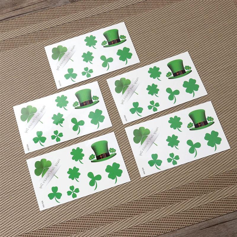 20pcs Creative St. Patricks Day Waterproof Funny Sticker Tattoo Sticker Set Decor Sticker for Party Festival Club