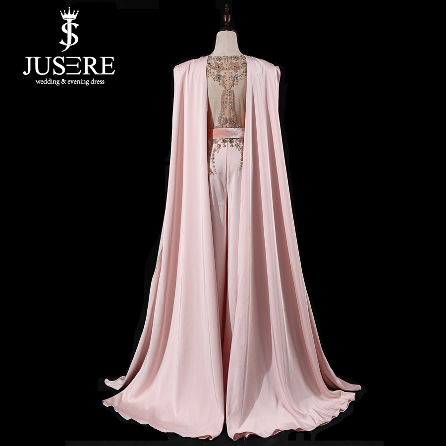 Image 4 - JUSERE Real Picture 2019 Pink Runway Evening Dress with Pants Long Evening Dresses Vestido de festaProm Dresses   -