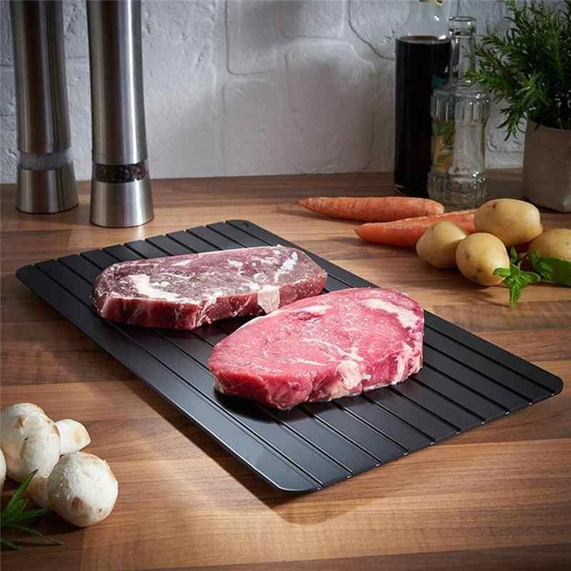 Retângulo Bandeja de Degelo Rápido com 4 pcs Canto Almofadas Protetor de Alimentos de Carne de Porco Carne Peixe Degelo Degelo Da Placa Placa de Cozinha Gadget