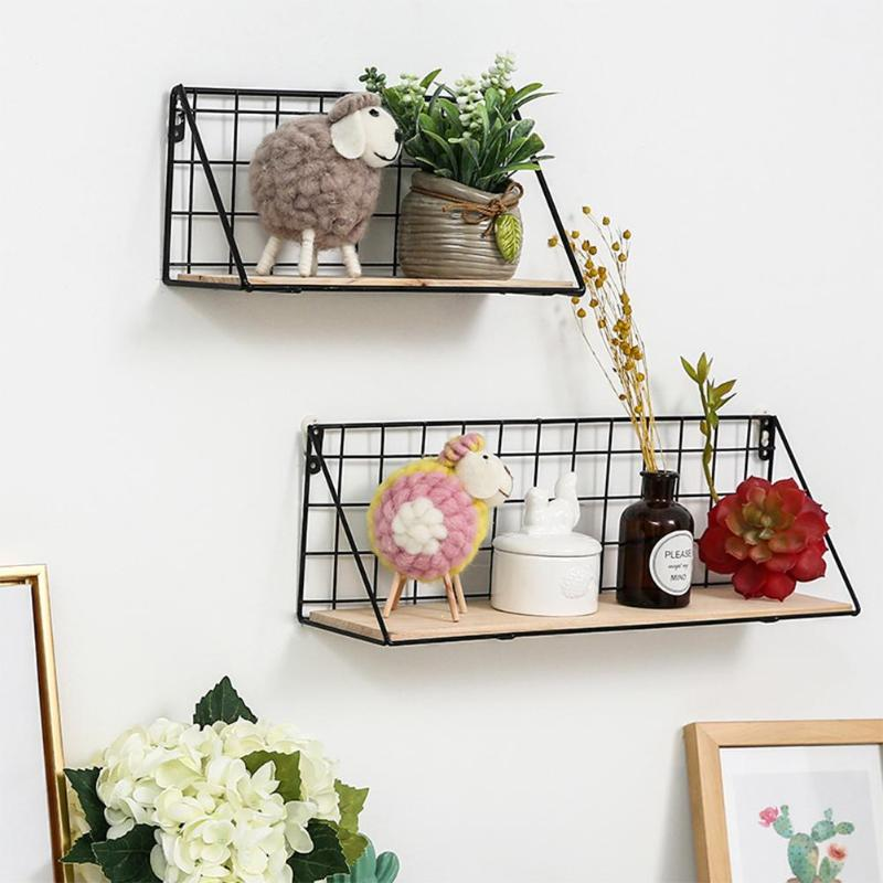 EID MUBARAK Creative Iron Wall Mounted Storage Rack Basket Wall Hanging Display Shelf Organizer Home Bedroom Stationery Holder