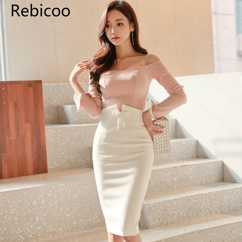 Spring Strapless Full Sleeve Pink Top Shirt Sexy Bodycon Pencil White Skirt 2 Piece Sets Women Knee-Length Suit Dress