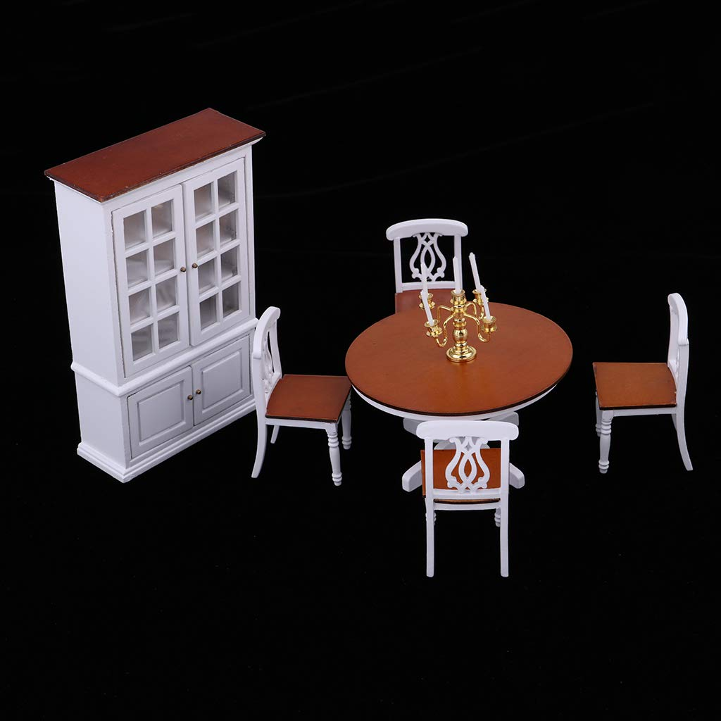 1:12 Scale Dollhouse Dining Room Furniture Wine Cabinet Table Chair Candlestick Miniature Doll House Accessories Decoration
