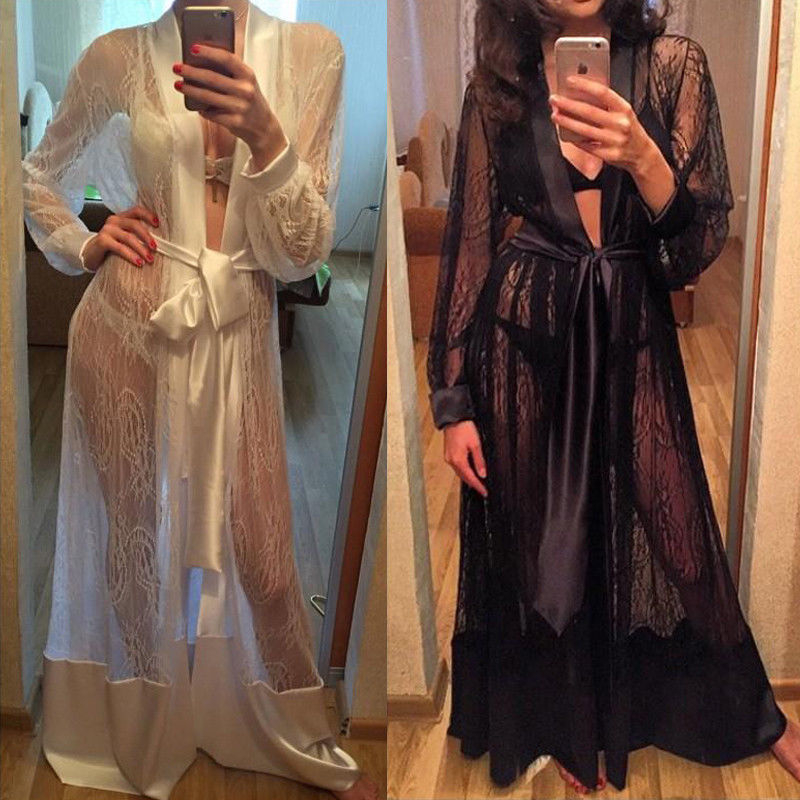 Lace Robe Sexy Sleepwear Women See Through Long Robe Sleepwear Nightwear Gown Bathrobe Nightdress Black White