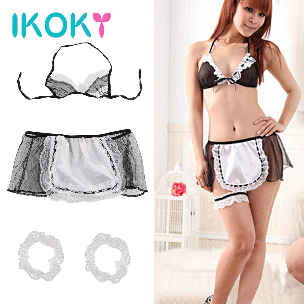 IKOKY Maid Uniform Exotic Apparel Sexy Underwear Cosplay Costumes Open Crotch Ladies Sexy Lingerie Erotic Lingerie