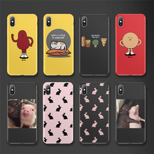 Cute Cartoon Person Lovely Pig Rabbit Soft TPU Silicon Back Cover For iPhone 7 Case 6 6s 8 Plus 5s SE XR XS Max Cases