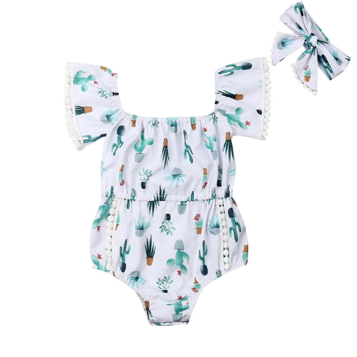2019 Newest Casual Newborn Baby Girl Clothes Kid Off Shoulder Flying Sleeve Cactus Body   Romper   Jumpsuit Sunsuit Headband Set
