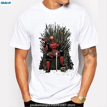 GILDAN New Fashion Deadpool on the Iron Throne T-shirt Men Game of thrones Tshirt Homme Mens Short Sleeve Tee Tops Cool T Shirt