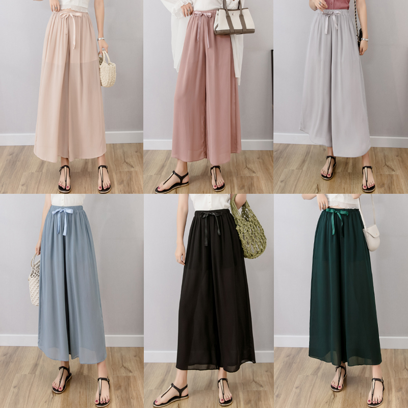 Summer   Pant   for Women   Wide     Leg     Pant   Chiffon Female Thin Loose High Waist All Match   Pants   Plus Size Solid Color Ladies Trousers