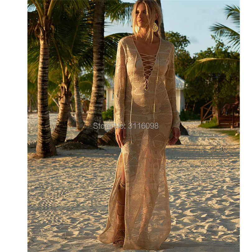 Pareo Praia De Maiô Encobrimento E Túnicas Vestidos Lace Cover Up Coverups O Vestido Longo 2019 Novo Saia De Malha Solta feminino