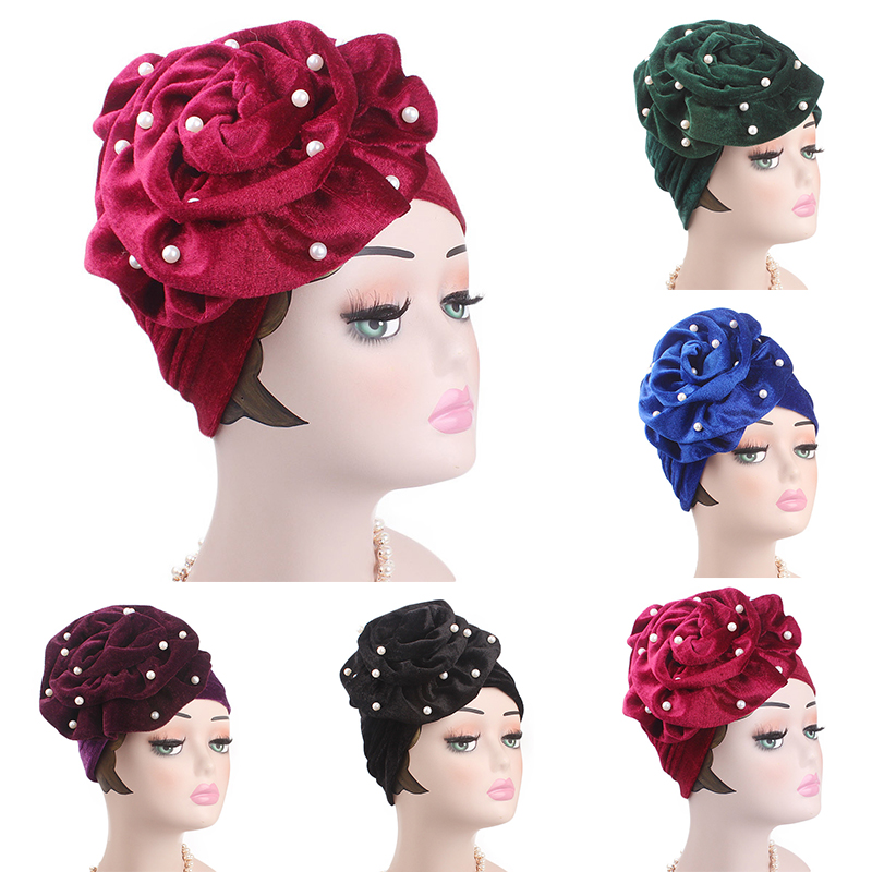 a57a5b4e15e 2018 new hot 1pc Charming Pearl Beaded Flowers Women s Velvet Turban Hat  Muslim Headscarf Hair Loss