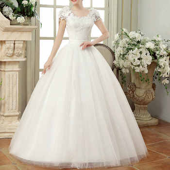 Vintage Lace Wedding Dresses Cap Sleeves Long Train Ball Gowns for Wedding Vestidos Cerimonia 2019 Vestido De Noiva Princesa - DISCOUNT ITEM  20% OFF All Category