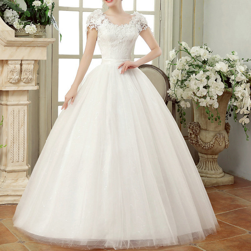 Vintage Lace Wedding Dresses Cap Sleeves Long Train Ball Gowns for Wedding Vestidos Cerimonia 2020 Vestido De Noiva Princesa