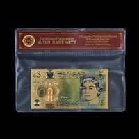 WR NUOVO REGNO UNITO £ 24 k Banconote di Carta Colorata Soldi 5 Libra con COA Telaio Elisabetta II Banconota Del Mondo per I Regali di Raccolta