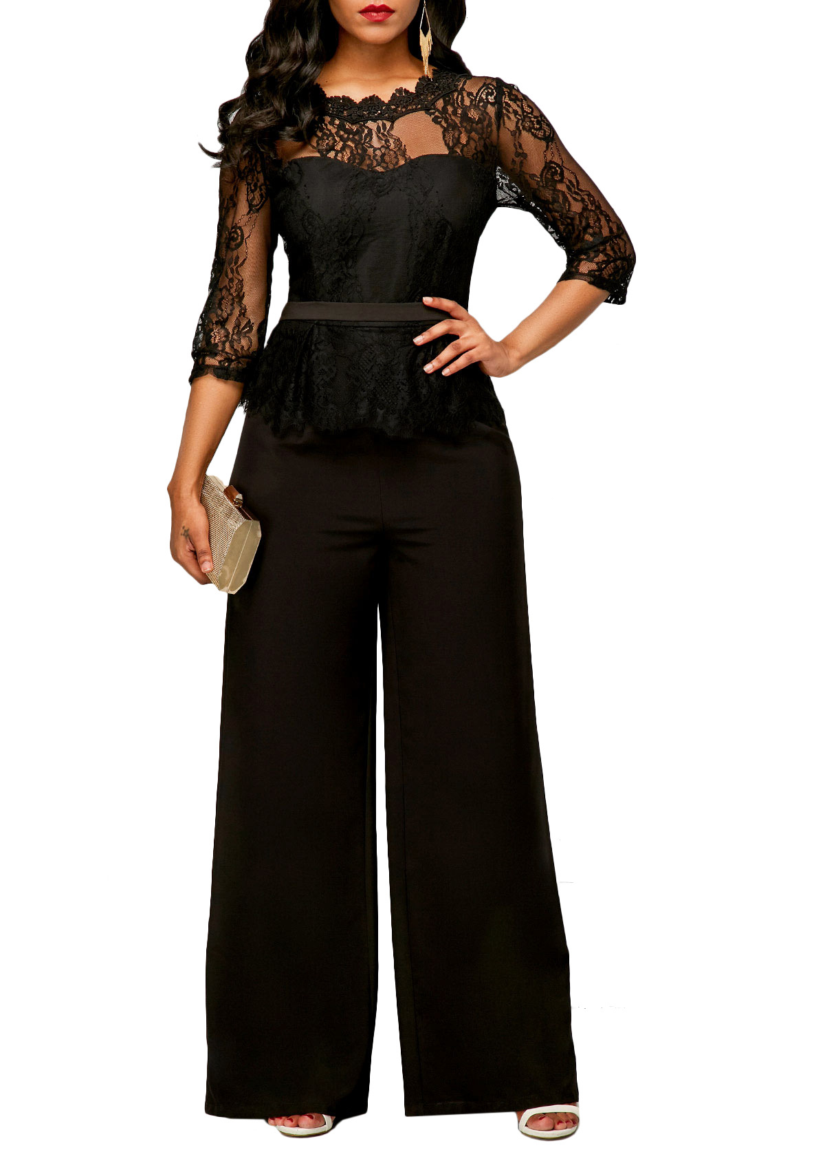 Spring Summer 2019 Fashion Elegant Sexy Lace Jumpsuit Romper Women Short Sleeve Female Overalls Long Pants Plus Size