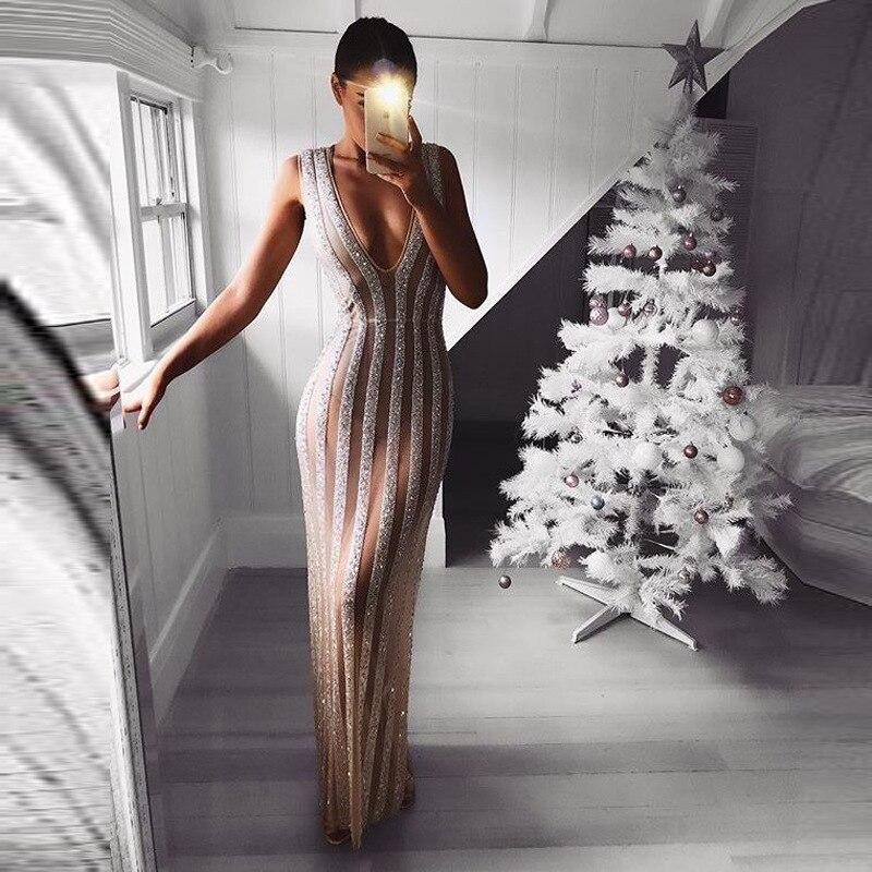 De bal sequin sexy robe pour femmes 2019 Fasion Brillant Moulante Glitter Partie De Robe Robes Longues de Soirée Pour Les Femmes voir à travers les Robes