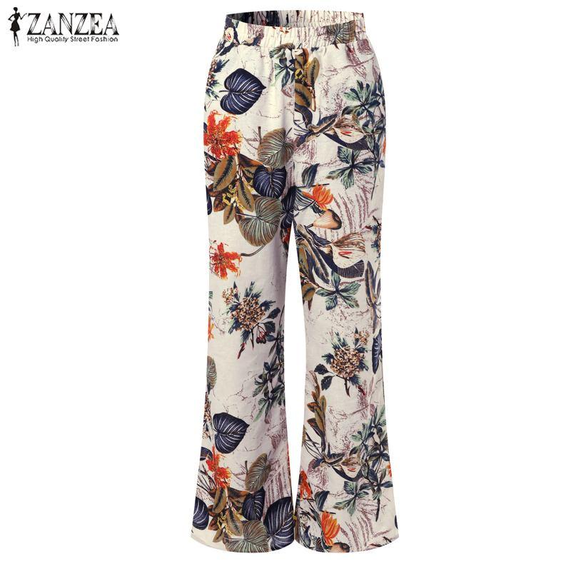 ZANZEA   Wide     Leg     Pants   Women Floral Printed Casual Pockets Pantalon Femme High Waist Trousers Ladies Work Palazzo Streetwear 5XL