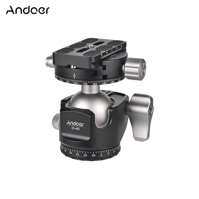 Andoer D 40 Professional CNC Double Panoramic Tripod Monopod Ball Head for Canon Nikon DSLR ILDC Cameras Max Load Capacity 25kg