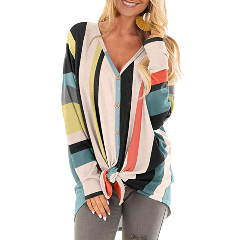 Women V Neck Long Sleeve Color Irregular Striped Print Buttons Knit T Shirt Ladies Casual Loose Cardigan Outwear Tops