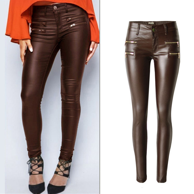 Fashion Women Low Waist Stretch Pencil Leather Pants Streetwear Double Zippers Pu Pants Fake Zippers Casual Large Size Trousers