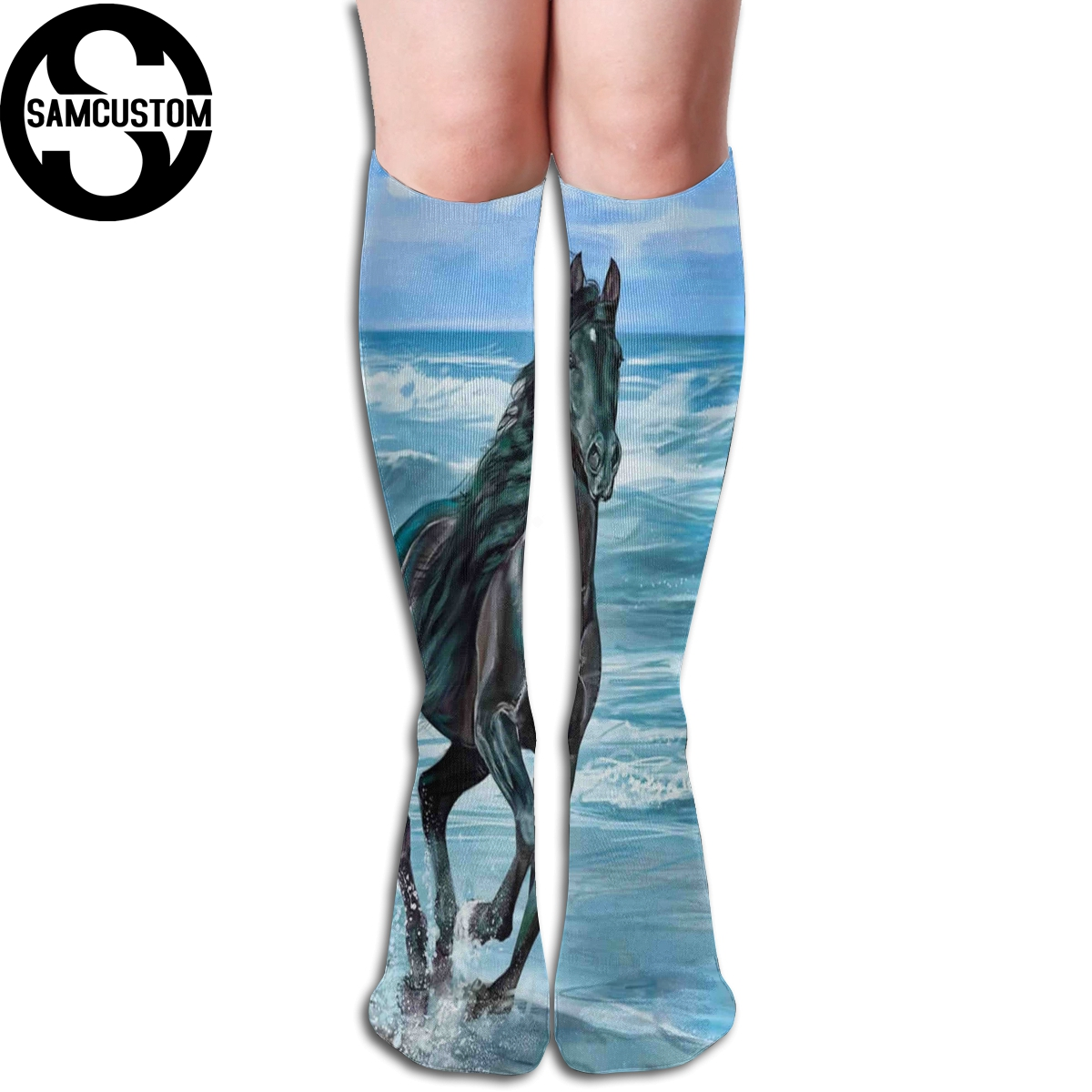 SAMCUSTOM Personalized Custom 3D Printing Running Horse Female Kawaii Knee Socks Fashion Girl Cute Stockings