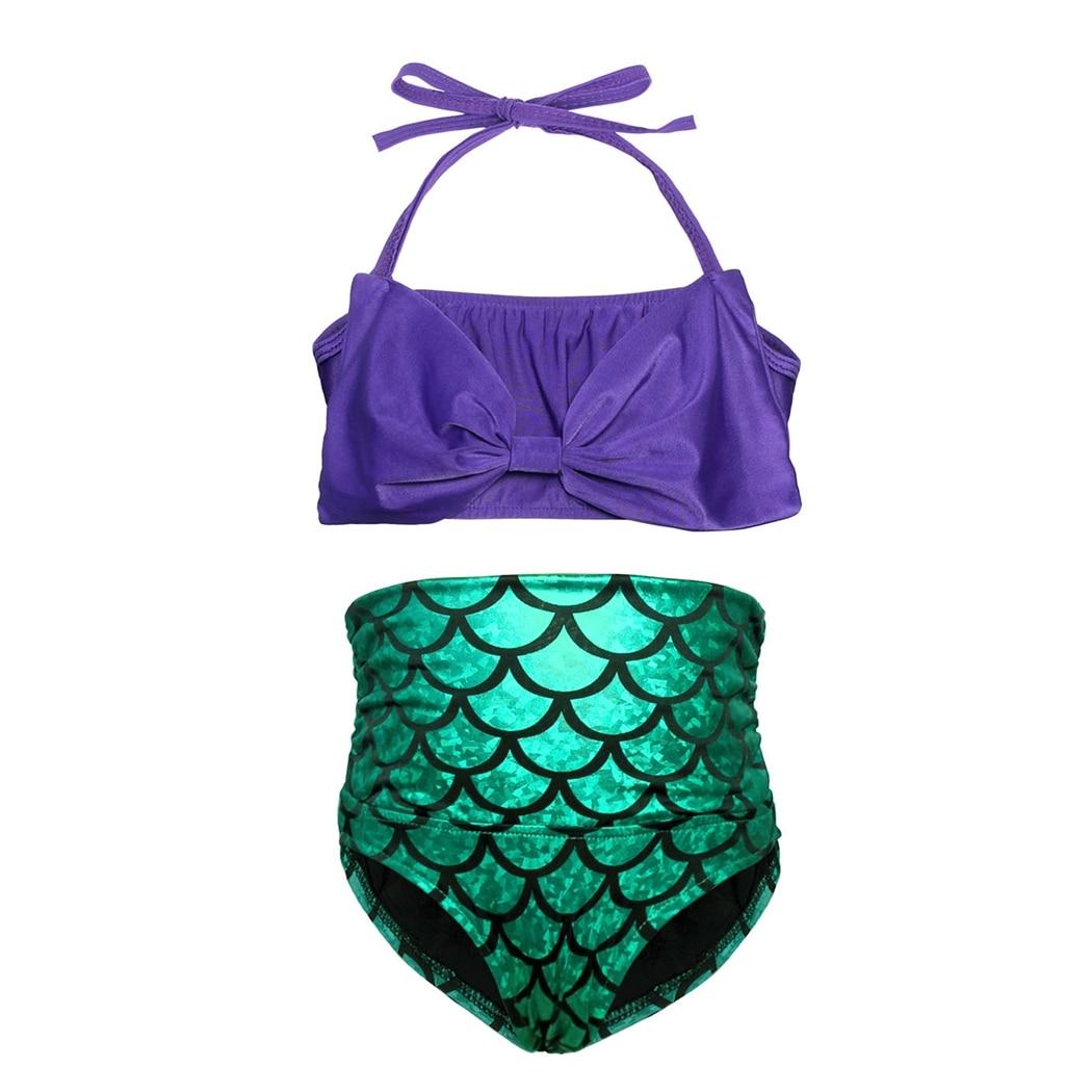 AmzBarley 2pcs Little Mermaid Tails Swimsuit Princess Girls Swimwear Bikini Suit Set Swimming Bathing Age 2T-10T For